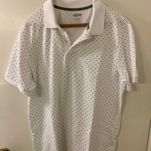 White dotted collared shirt from Old Navy